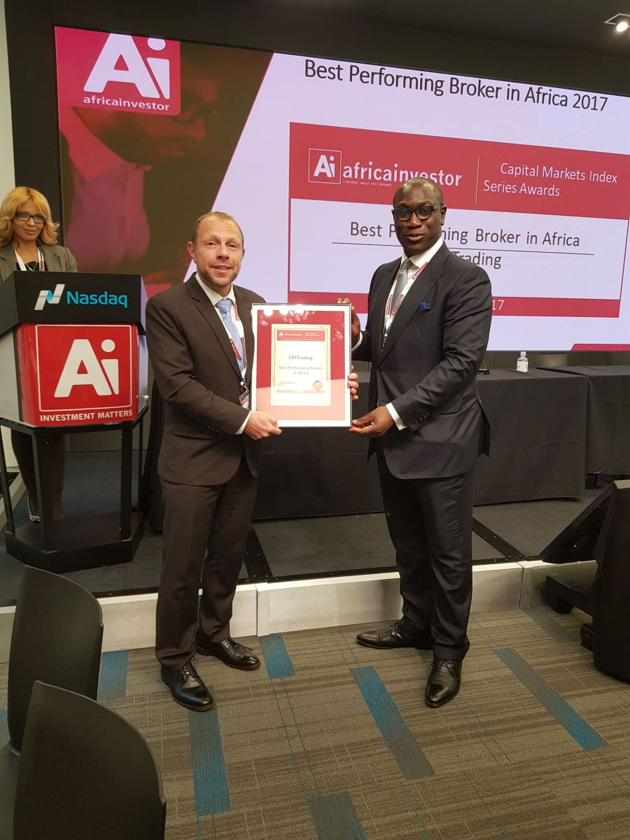 Daniel Kibel, Director CM Tradng, receiving the Best Performing Broker in Africa Award at NASDAQ in New York