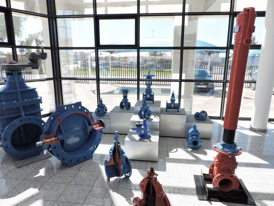 Some of the valves on display at the Academy at AVK Southern Africa's headquarters in Johannesburg.