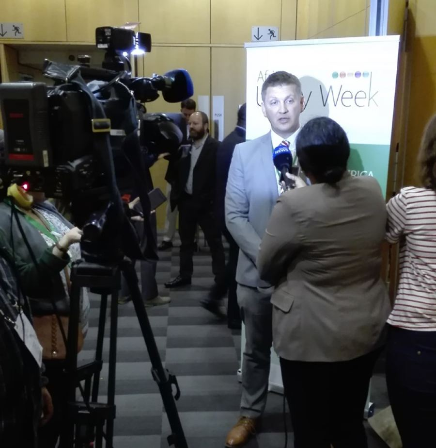 Nuclear expert Dr Anthonie Cilliers interviewed at last year's Nuclear Power Africa at African Utility Week