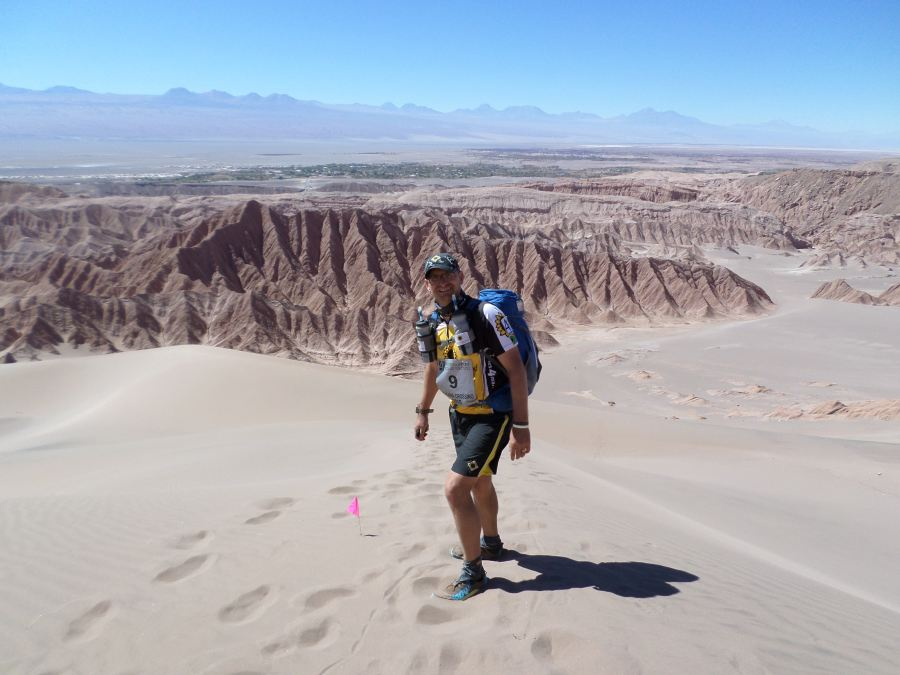 David Barnard running the 2015 Atacama Crossing in the Atacama Desert in Chile
