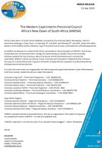 The Western Cape Interim Provincial Council - Africa's New Dawn of South Africa (ANDSA)