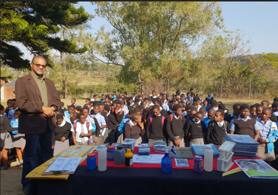 Siva Chetty, Veolia KwaZulu-Natal Operations Manager, spoke to learners at Dr. Nembula High School in Folweni during National Science Week