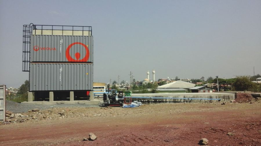 Veolia container on site