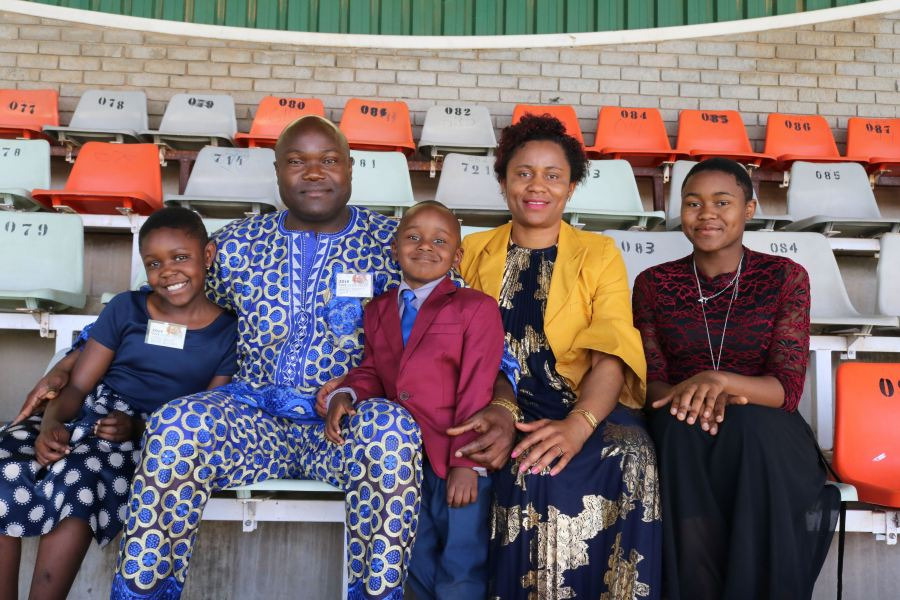 "Kezia, Emmanuel, Miles, Roseline, and Jemimah Chofor at the at the ""Love Never Fails""! JW convention in Bloemfontein."